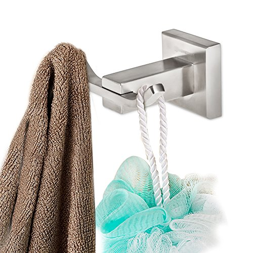 Homeideas bathroom accessories wall mount robe hooks over the import it all for Door towel racks for bathrooms