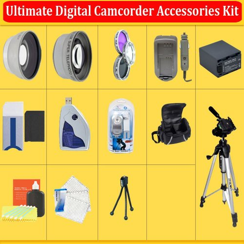 Huge Ultimate Accessory Kit for the Sony HDR-CX110, CX150, CX300, CX350V, XR150, XR350V HD Handycam Camcorder.the Kit Includes Lenses, Filters, 8 Gb Memory Stick, Extended Replacement Battery,Rapid Charger, Carrying Case, Tripod, Video Light