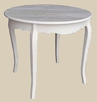 Cream Round Table with Top Whitewash Ø90x H76cm Disraeli