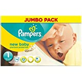 Pampers New Baby Size 1 (Newborn) Jumbo Pack 74 Nappies