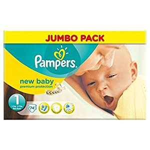 Pampers New Baby Size 1 (Newborn) Jumbo Nappies - Pack of 74
