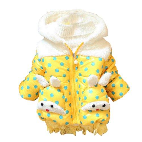 Little Hand Baby Girls' Winter Rabbit Animal Zip Dot Hoodies Coats front-970061
