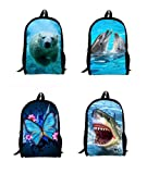 3D Butterfly Children School Bags Dolphin Cat Owls Dog Tiger Leopard Student