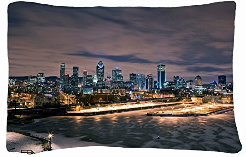 Microfiber Peach Queen Size Decorative Pillowcase -City Lights Night Montreal front-686840