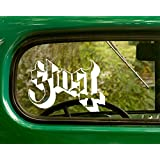 2 GHOST Decal Rock Band Stickers White Die Cut For Window Car Jeep 4x4 Truck Laptop Bumper Rv (Color: White, Tamaño: 5