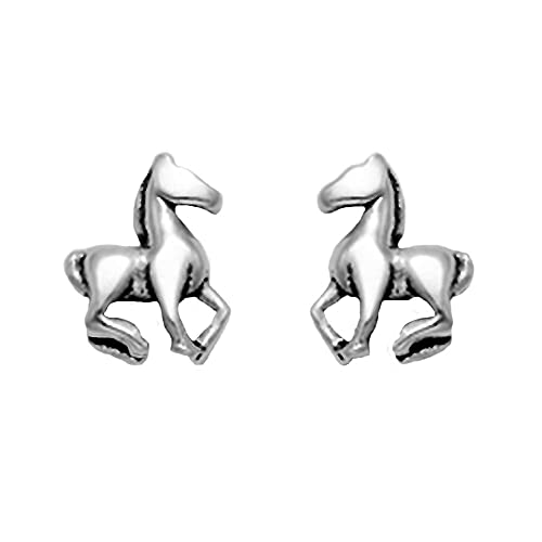 Tiny Sterling Silver Trotting Horse Stud Earrings