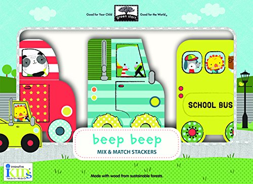 Green Start Wooden Toys Mix & Match Stackers: Beep Beep