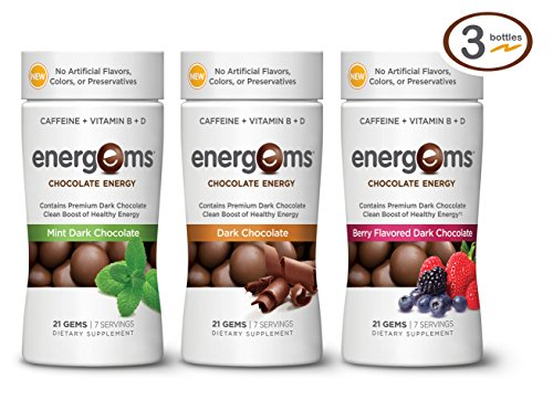 Energems Dark Chocolate Energy Boost with Caffeine, Vitamin B, Vitamin D, Antioxidants, plus L-Theanine- Mixed Berry, Mint and Dark Chocolate Flavors - 63 Dietary Supplement Gems (3 Bottle Pack) (Energy Chocolate Chews compare prices)