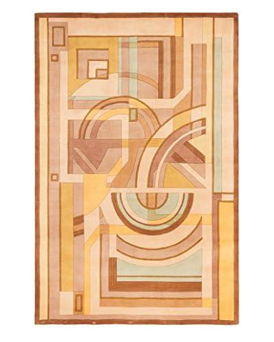 Handmade Pierrot Wool Rug, Brown/Ivory, 5' 3 x 8'