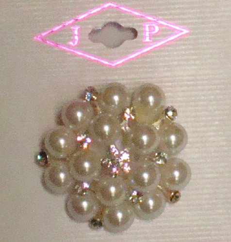 Sparkling Crystals Rhinestones Jades and Simulated Pearls on Genuine Gold Plated Gita Brooch Pin for Women and Teens