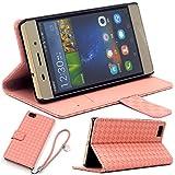 F.G.S ピンク HUAWEI P8 lite ケース P8 lite カバー Huawei LUMIERE 503HW ケース 503HW カバー スタンド機能付き ストラッププレゼント全5色 F.G.S正規代理品
