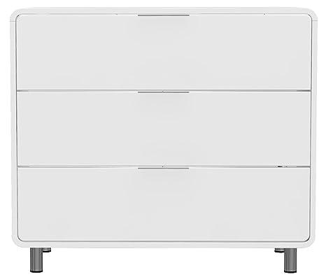 Tenzo 8423-001 Step - Designer Kommode weiß, MDF lackiert matt, Griffe und Fuße aus Metall, 79 x 90 x 44 cm