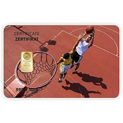 Goldbarren Geschenkkarte 0,5 g 0,5g Gramm Feingold 999.9 Nadir Gold Sport Basketball