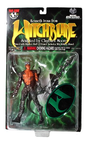"Top Cow Year 1998 Clayburn Moore ""Witchblade"" Series 6 Inch Tall Action Figure - KENNETH IRONS with Sinister Staff of Power and Display Stand"