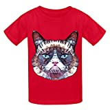 Chas Abstract Grouchy Cat Teen Crew Neck Cotton Tees Red