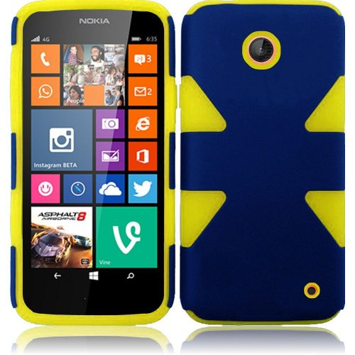 Cell Accessories For Less (Tm) For Nokia Lumia 635 630 Dynamic Slim Hybrid Cover Case - Blue+Yellow - By Thetargetbuys *Free Shipping*