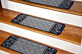 Dean Washable Non-Skid Carpet Stair Treads - Navy Blue Scroll Border (Set of 13)
