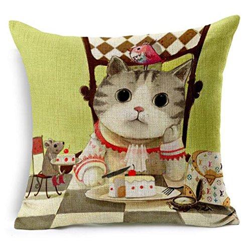 Dececos Naughty Cat Decorative Cotton Linen Blend Throw Pillow Cover Square Pillow Case Cushion ...