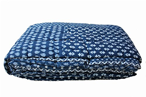 INDIAN PATCHWORK azul doble o cama de matrimonio de funda nórdica REVERSIBLE para cama de funda de edredón de MANGO de regalos
