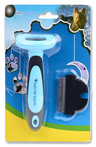 Deshedding Tool for Dogs and Cats - By Tails Pet Supply Reduces Shedding up to 90% - Veterinarian and Groomer Recommended - Can Be Used for All Shor