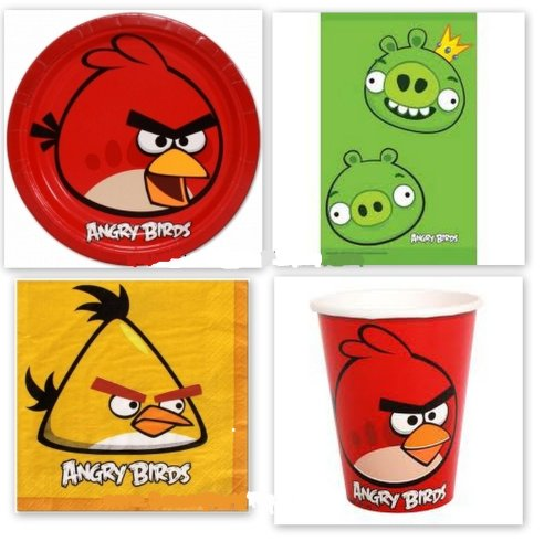 ANGRY BIRDS PLATES CUPS 2 TABLE COVER Party Favor Supplies x24 Birthday Favors