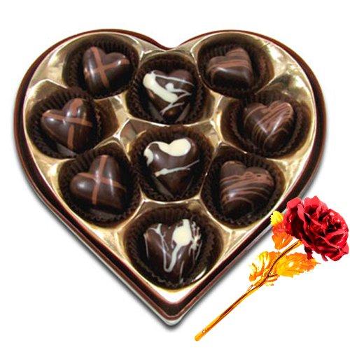 Divine Selection Of Chocolates Box With 24k Red Gold Rose - Chocholik Belgium Chocolates