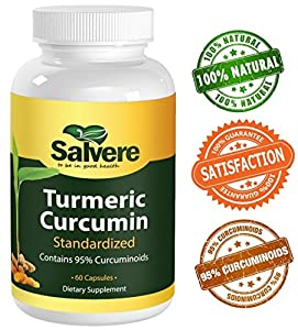 Turmeric Curcumin Standardize Contains 95% Curcuminoids - 500 mg - Gelatin Veggie Capsules - 100% Pure, No Artificial Additives - Detoxify, Boost Immune System, Burn Fat, Anti-Oxidant, Anti-Inflammatory, Improve Diabetic Conditions - 2 Month Supply 60 capsules