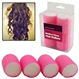 AMOS 4 Piece Velcro Medium 45mm Sleep Snooze Foam Curling Salon Hair Styling Tools Self Grip Cling Hair Rollers Curlers Set Kit (Pink)