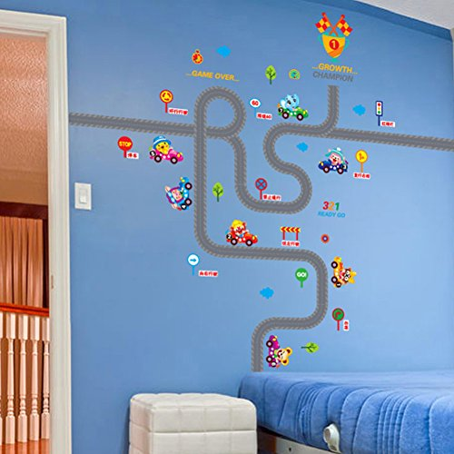 TAFLY Traffic Wall Decals Traffic Roads Train Deco Transports Kid Nursery Room Stickers 2Sheets