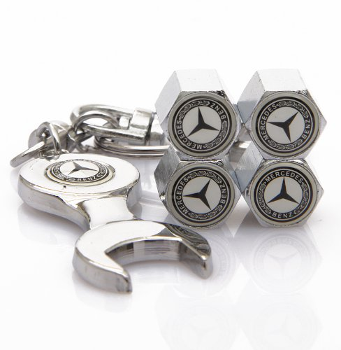 Mercedes benz tire valve caps with bonus wrench keychain for Mercedes benz tire inflator