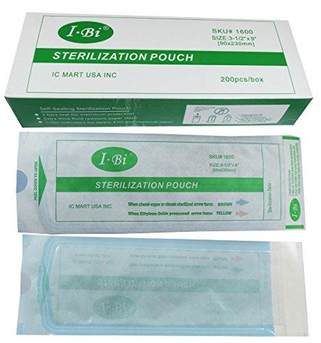 Ibi self seal sterilization pouch 200pcs box 3 5 x 9 for 3 methods of sterilization in the salon