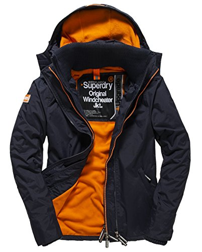 SUPERDRY Herren Jacke Pop Zip Hooded Arctic Windchea, Blau (French Navy/Jaffa46S), L