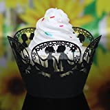 12Pcs Various Theme Hollow Lace Cup Muffin Cake Paper Case Wraps Cupcake Wrapper