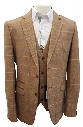 Mens-Marc-Darcy-Vintage-Tweed-Check-Blazer-Jacker-DX7-Oak-44-111cm