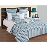 Swayam Linea Stripes Cotton Double Bedsheet With 2 Pillow Covers - Turquoise Stripes
