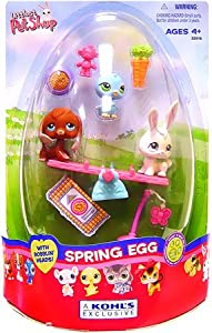 Littlest Pet Shop Figures Exclusive Spring Egg 3-Pack with Beagle, Blue Birdie and White Bunny