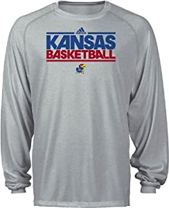 Kansas Jayhawks Heather Grey Dribbler Long Sleeve Climalite Basketball Practice Shirt... by adidas