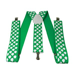 St Patrick's Day SHAMROCK SUSPENDERS/IRISH Party Attire/NOVELTY/Ireland/Blarney
