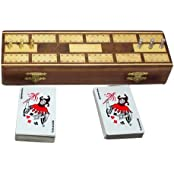 Wooden Cribbage Board Game With 2 Playing Cards Deck Storage And 6 Metal Pegs, Set Of 12