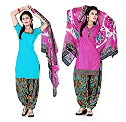 Ethnic For You Crepe Unstitched Salwar Suit Dress Materials(Sky Blue,Pink)