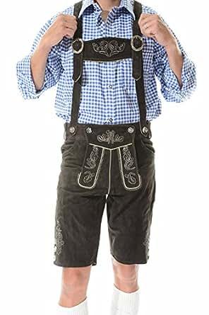 Lederhosen Costume Bavarian Lederhosen Outfit for Oktoberfest KURT - 30 - Dark Brown