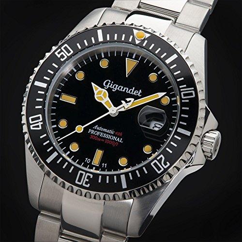 Gigandet Automatik Herren-Armbanduhr Sea Ground Vintage Taucheruhr Uhr Datum Analog Edelstahlarmband Schwarz Silber G2-007 3