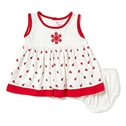 Camey Girls Red Apple Cotton Frock Set (18-24 months)