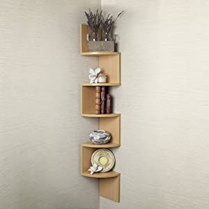 Large Beech Veneer Zig Zag Corner Wall Shelf