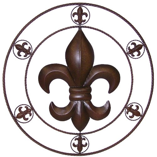 Ll home metal circled fleur de lis wall d cor 25 5 inch for Fleur de lis home decorations