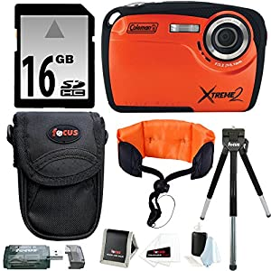 Coleman C12WP HD Waterproof Camera (Orange) w/ 16GB SD Card & Accessory Bundle