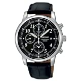 Đồng Hồ Nam Seiko SNDC33 Classic Black Leather Black Chronograph Dial Watch