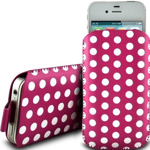N4U Online Pink Polka Dot Premium Pu Leather Pull Flip Tab Case Cover Pouch For Samsung Galaxy S Blaze 4G T769