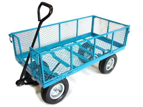 Green Blade 880lbs Extra Large 4 Wheel Garden Cart Trolley Fold Down Sides ST301