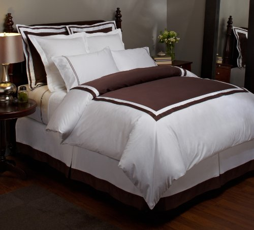 Pinzon Hotel Banded 100-Percent Egyptian Cotton Sateen Full/Queen Duvet Cover, Espresso front-559253